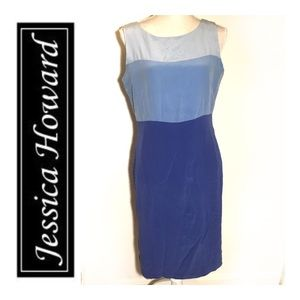 Jessica Howard Blue Silk sleeveless Shift Dress